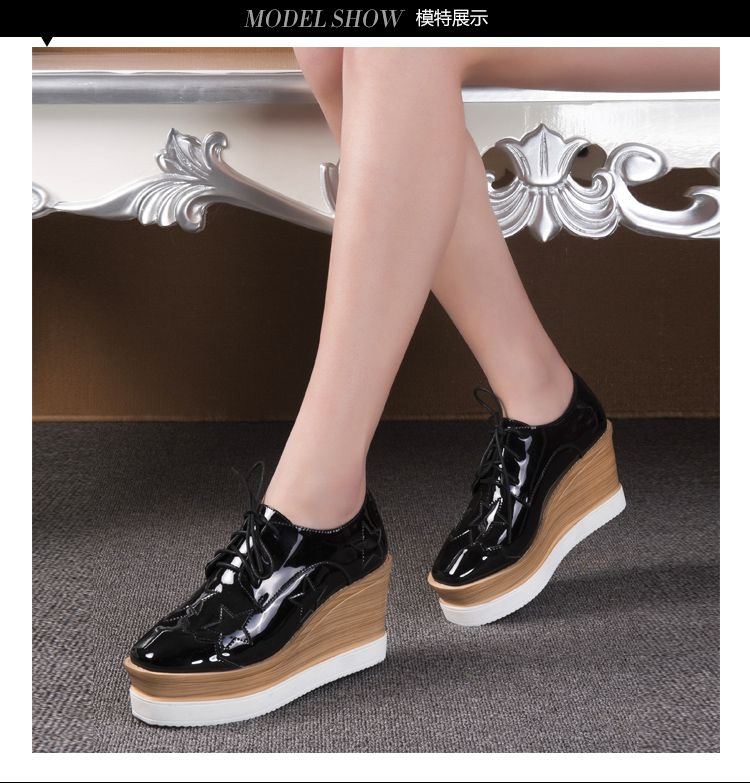 2016新品黑色五角星光面系鞋带休闲鞋图片