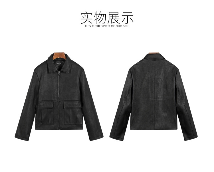 黑色 口袋设计工装夹克外套
