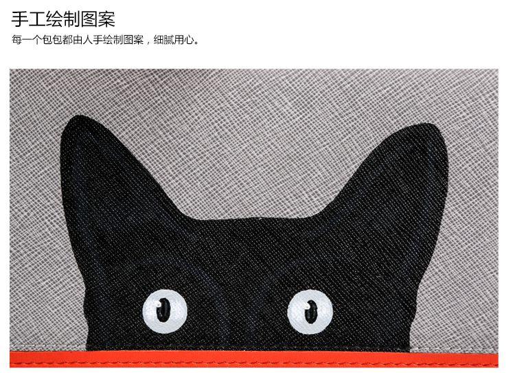 女款灰色手绘黑色猫咪长款钱包
