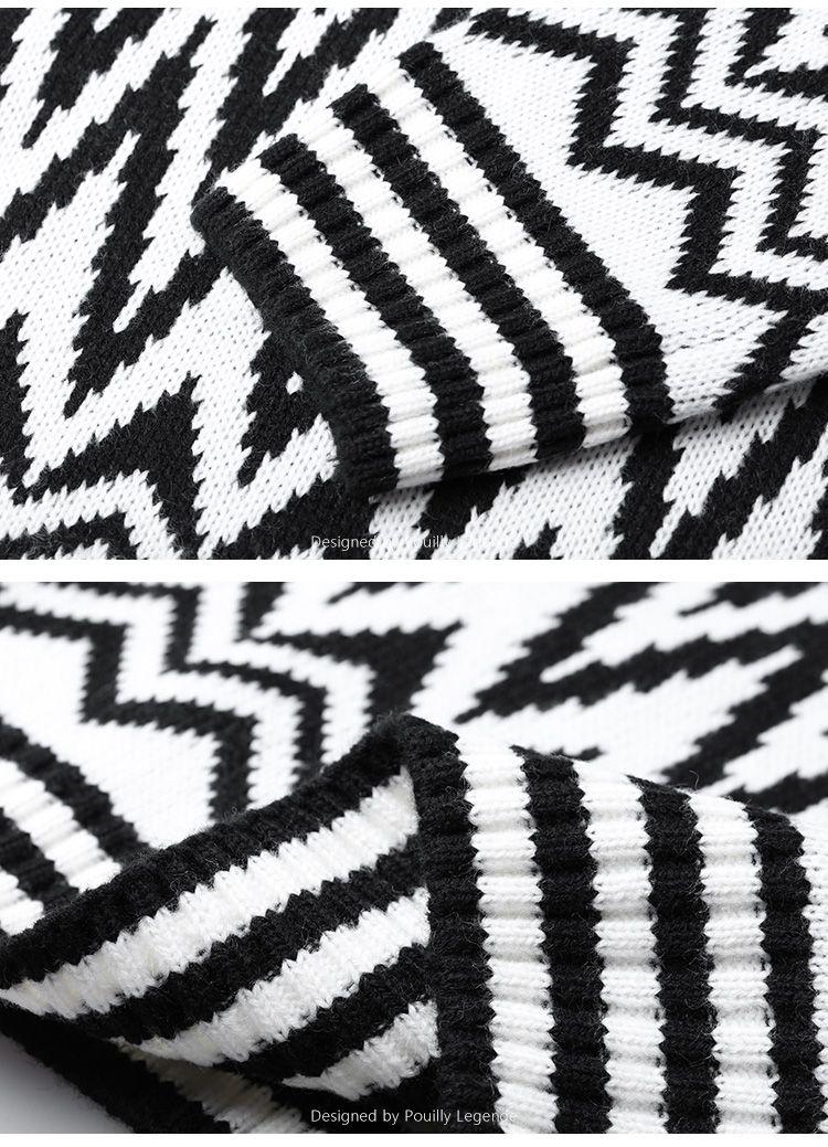 黑白时尚渐变提花长袖针织衫