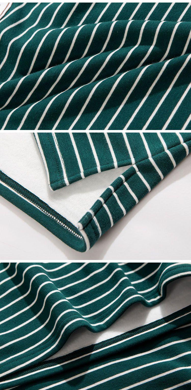 墨绿色 条纹内拉绒连衣裙