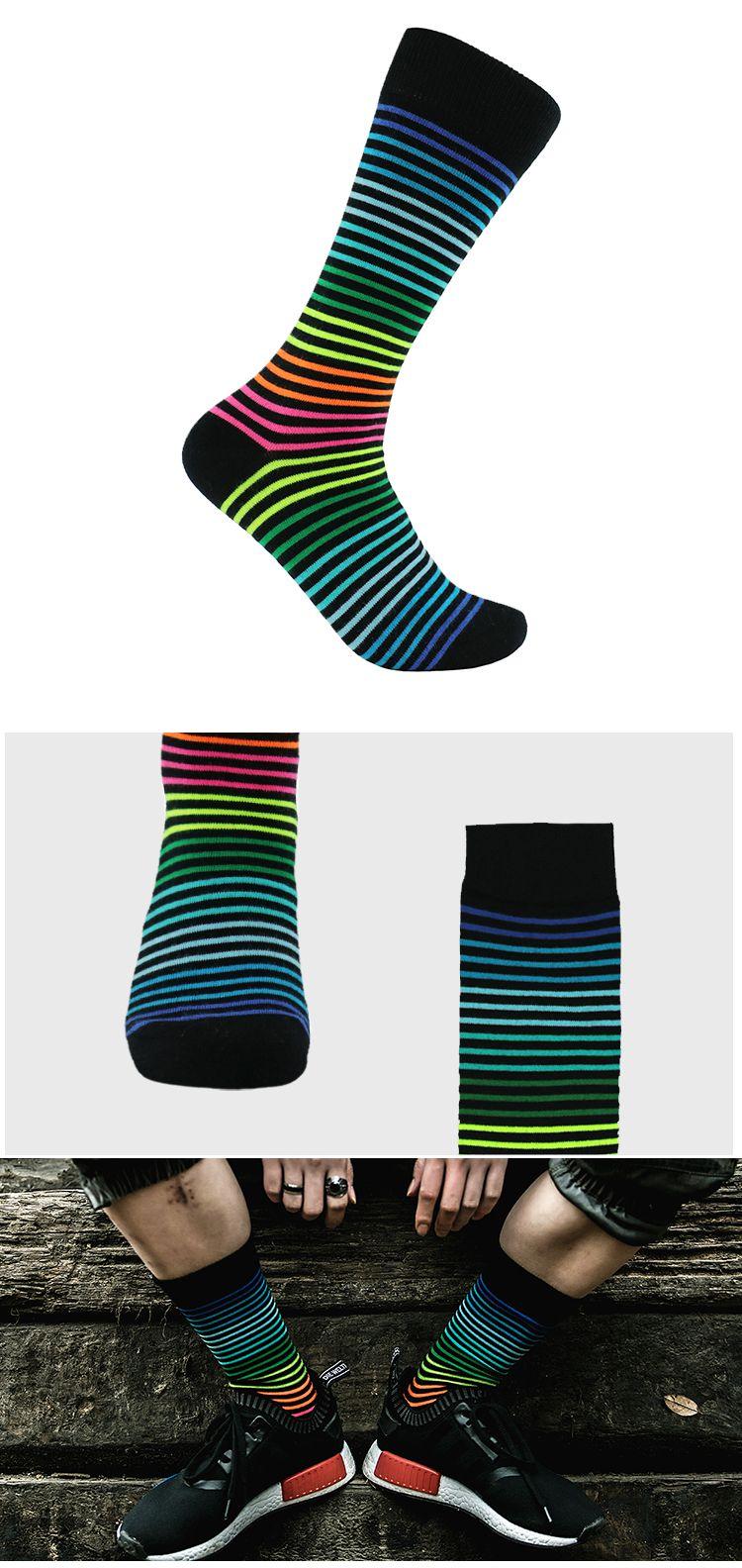 时尚设计 荧光彩条细条纹黑色潮袜