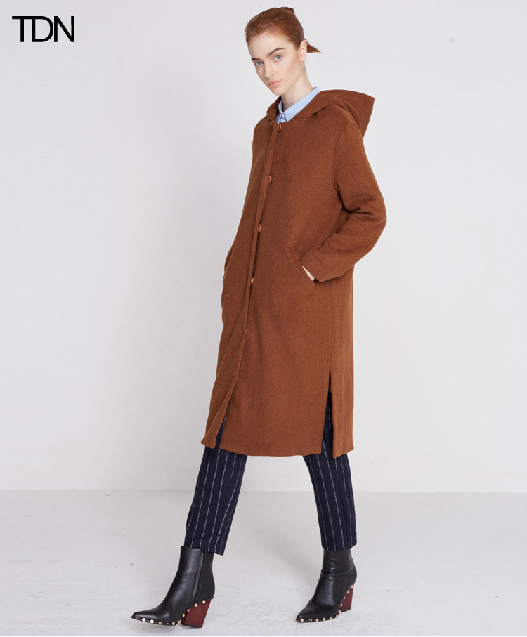 tadannu塔丹奴 原创设计师时尚大口袋羊绒大衣d1012
