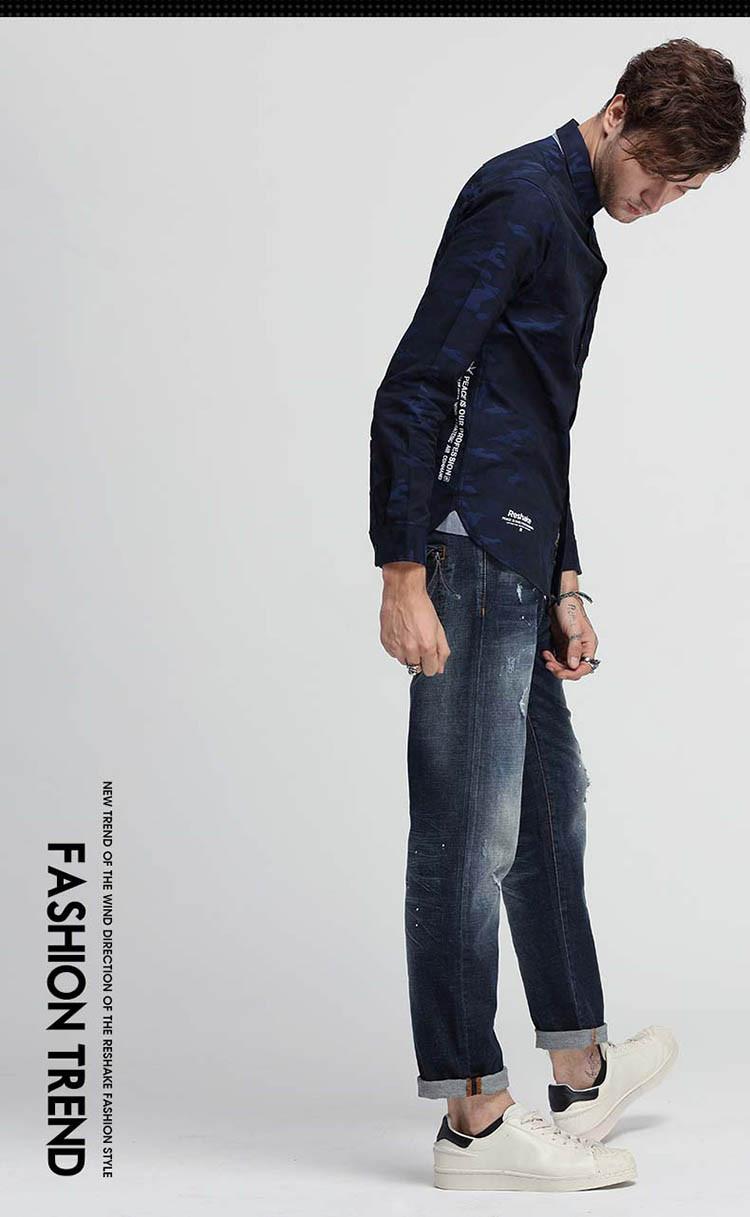 破洞潮流男式牛仔裤