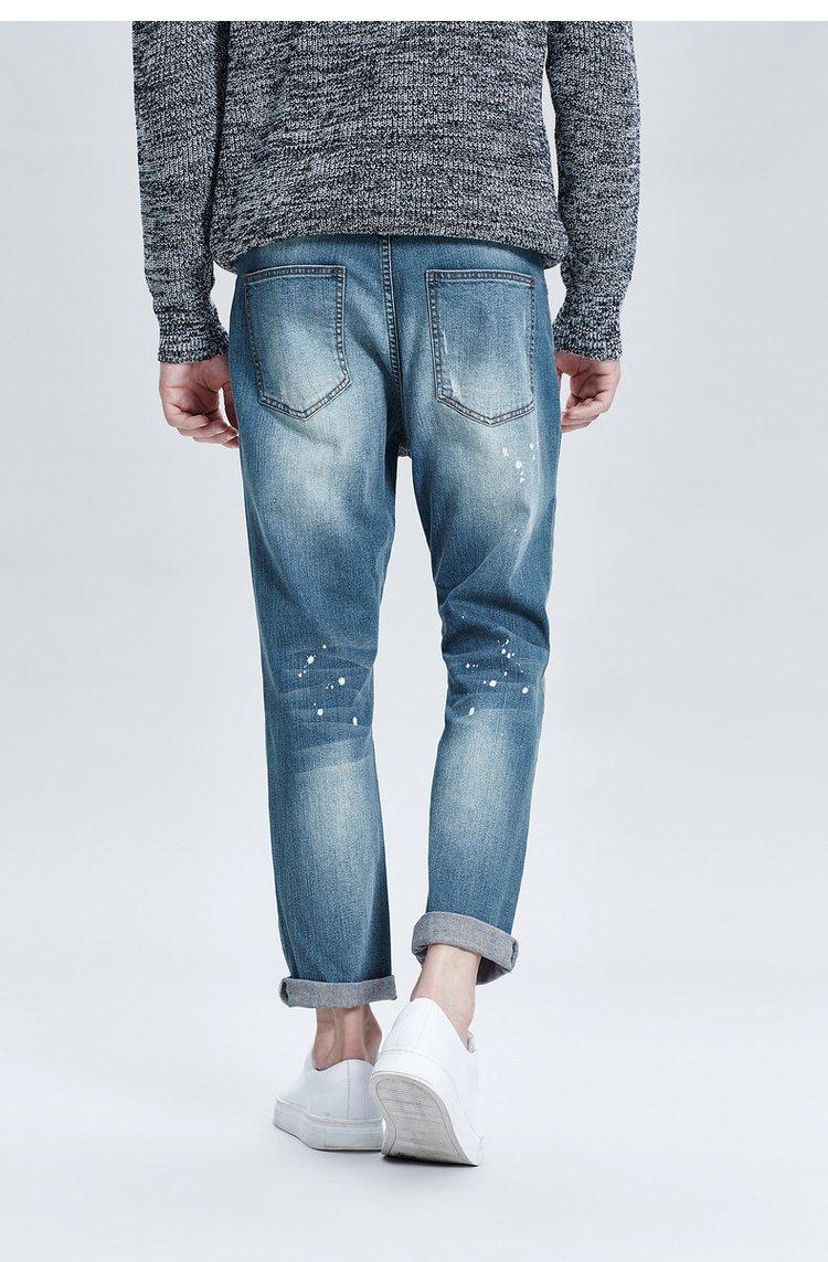 水洗破洞牛仔裤蓝色