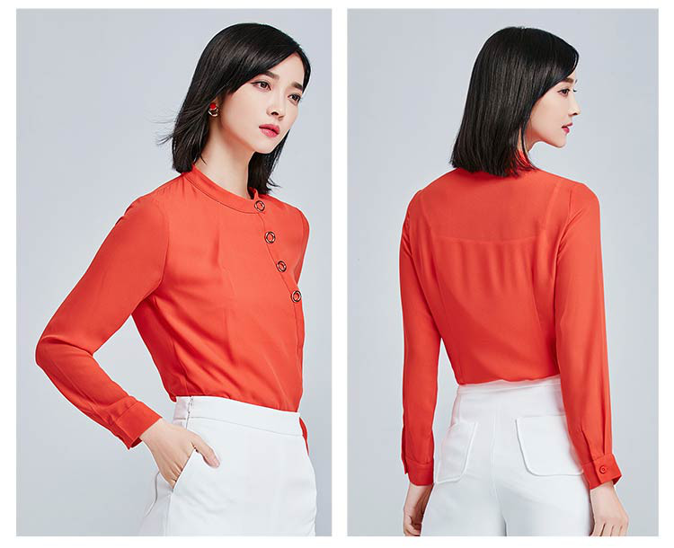 橘红色别致不对称门襟金属装饰雪纺衫
