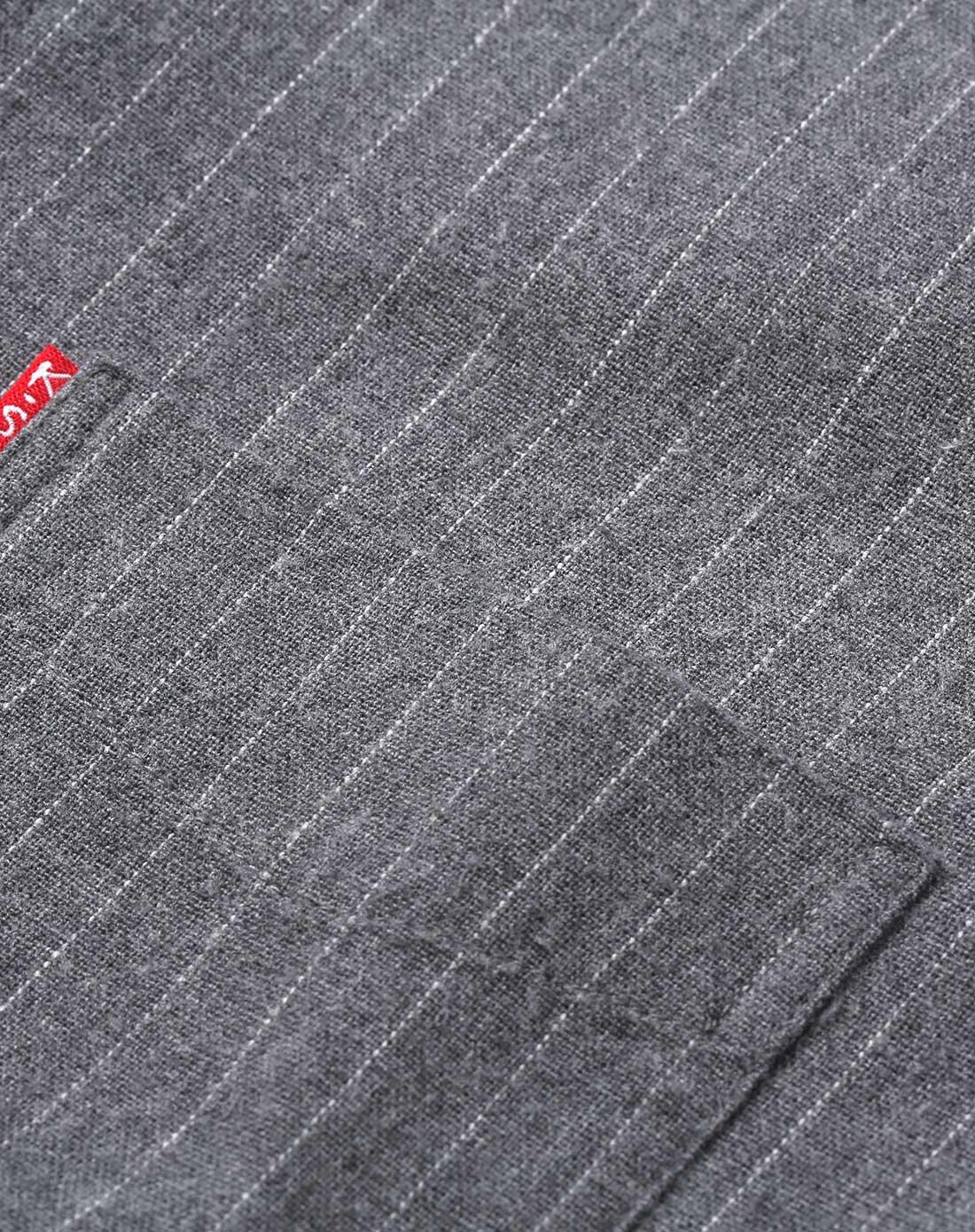 商务条纹加绒男士衬衫灰色