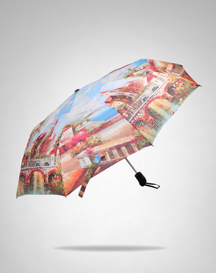 欧美风景文艺油画创意自动晴雨伞