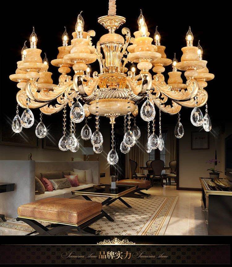 欧式客厅玉石水晶15头吊灯rkm017