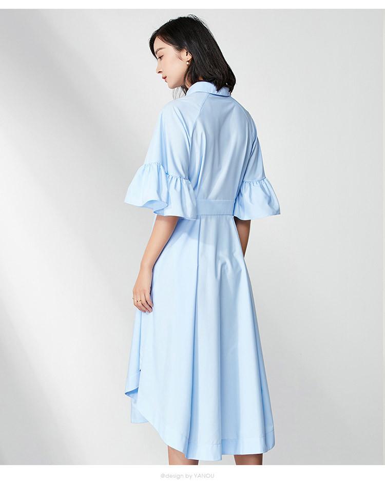 优雅气质荷叶袖衬衫连衣裙浅蓝色