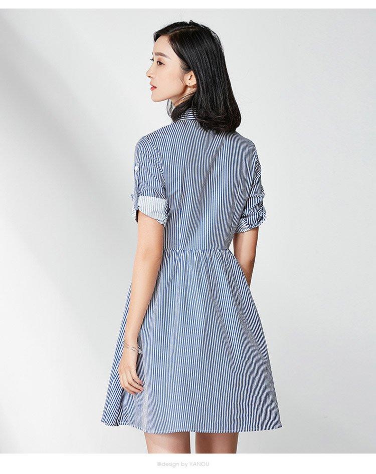 通勤淑女百搭连衣裙蓝白条纹