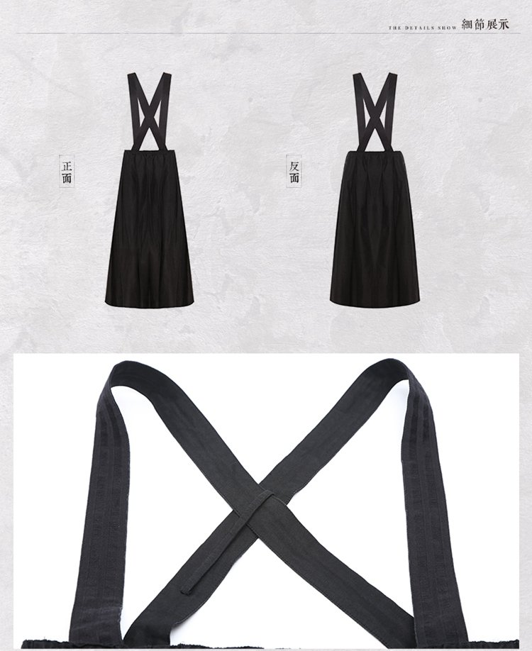 丝棉时尚复古背带半身裙墨色