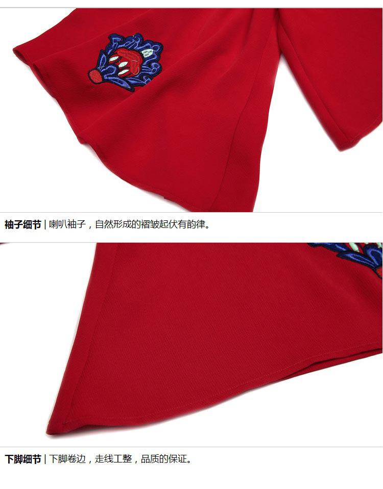 蝴蝶结绣花雪纺衫红色