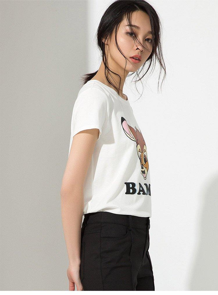 宋文玉 可爱动物印花时尚百搭t恤白色