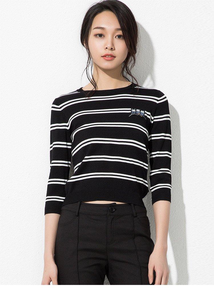 宋文玉 可爱刺绣条纹短款长袖t恤黑白条
