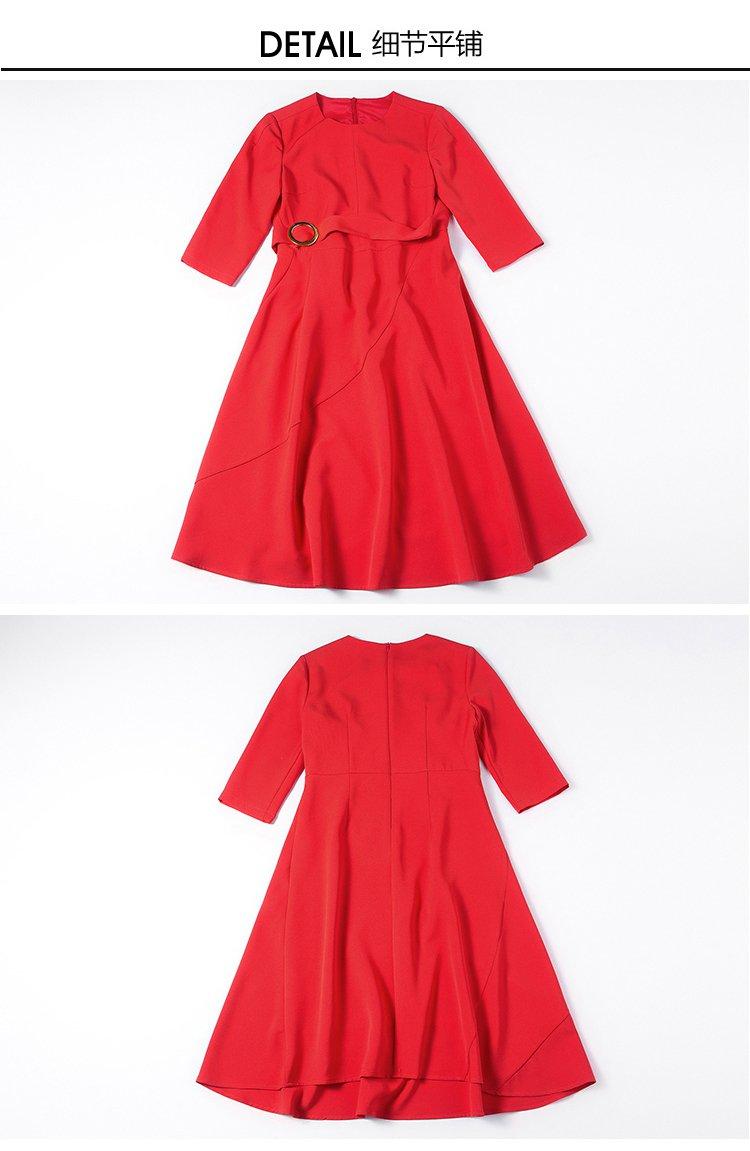 大红时尚前卫简约英伦连衣裙
