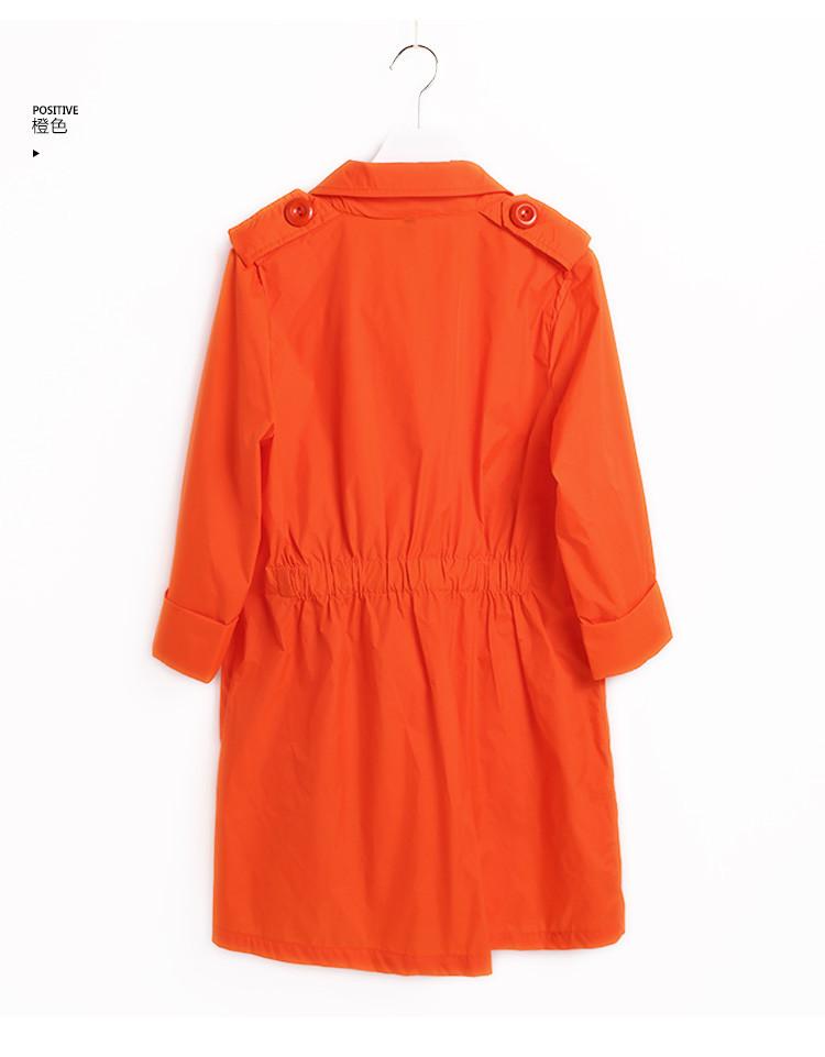 袖跺(h�(�_收腰七分袖风衣橙色