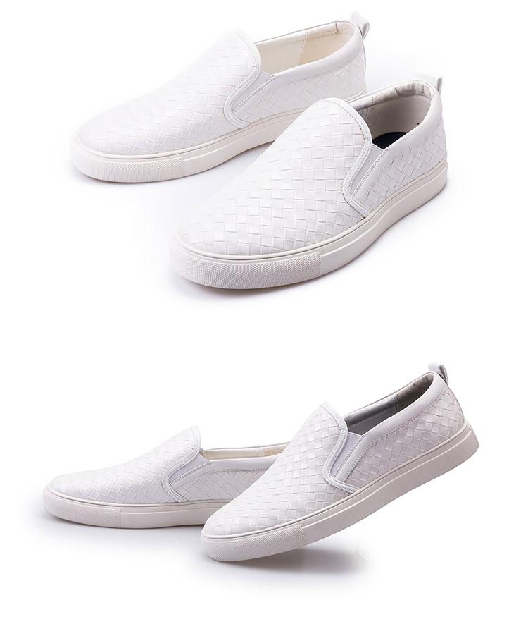 2017新款简约格子拼接舒适男士休闲鞋白色