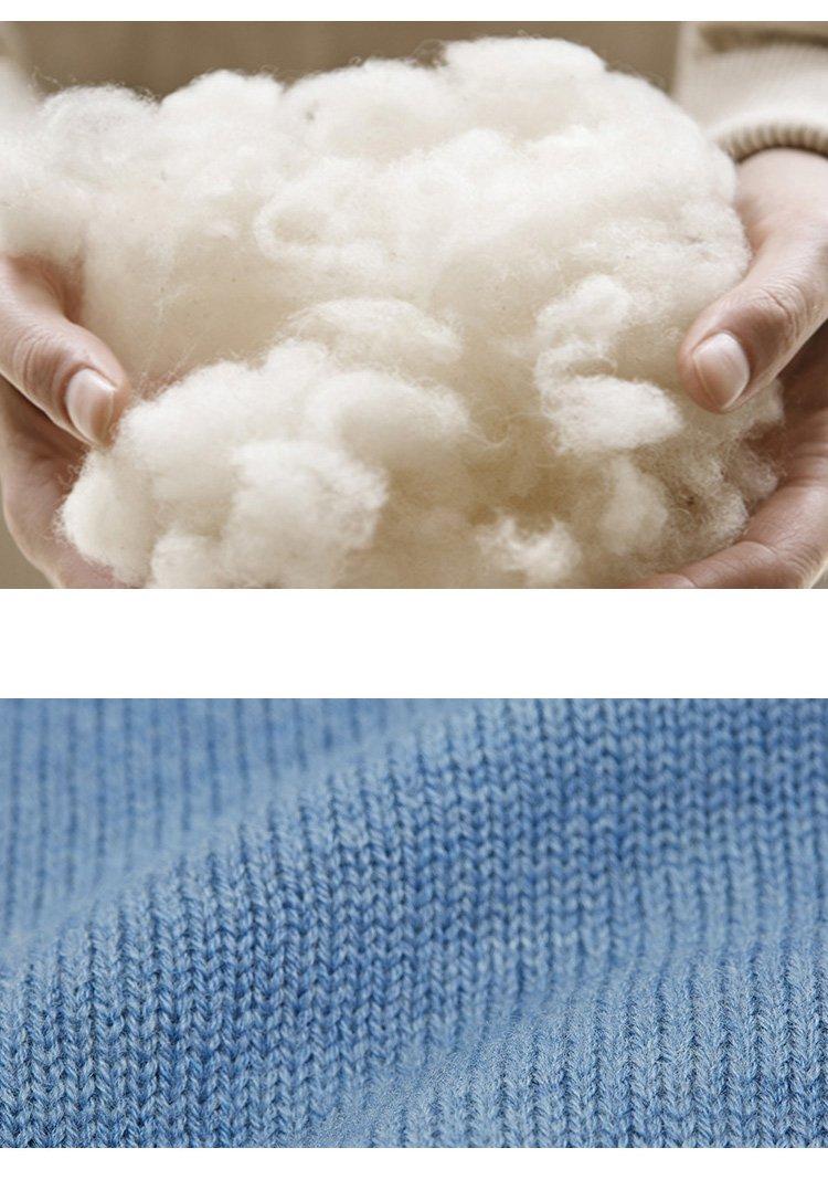 100%澳洲美利奴可机洗羊毛针织衫天使蓝