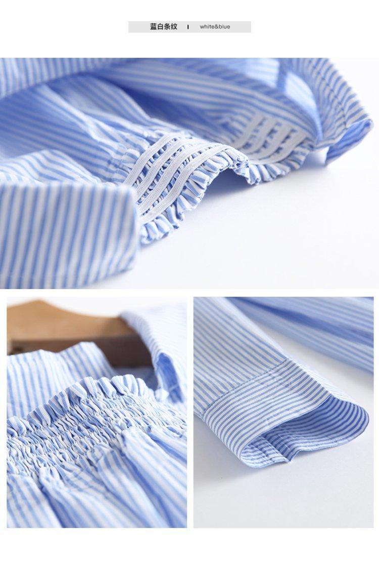 纯棉套头和风竖条纹衬衫黑白条纹
