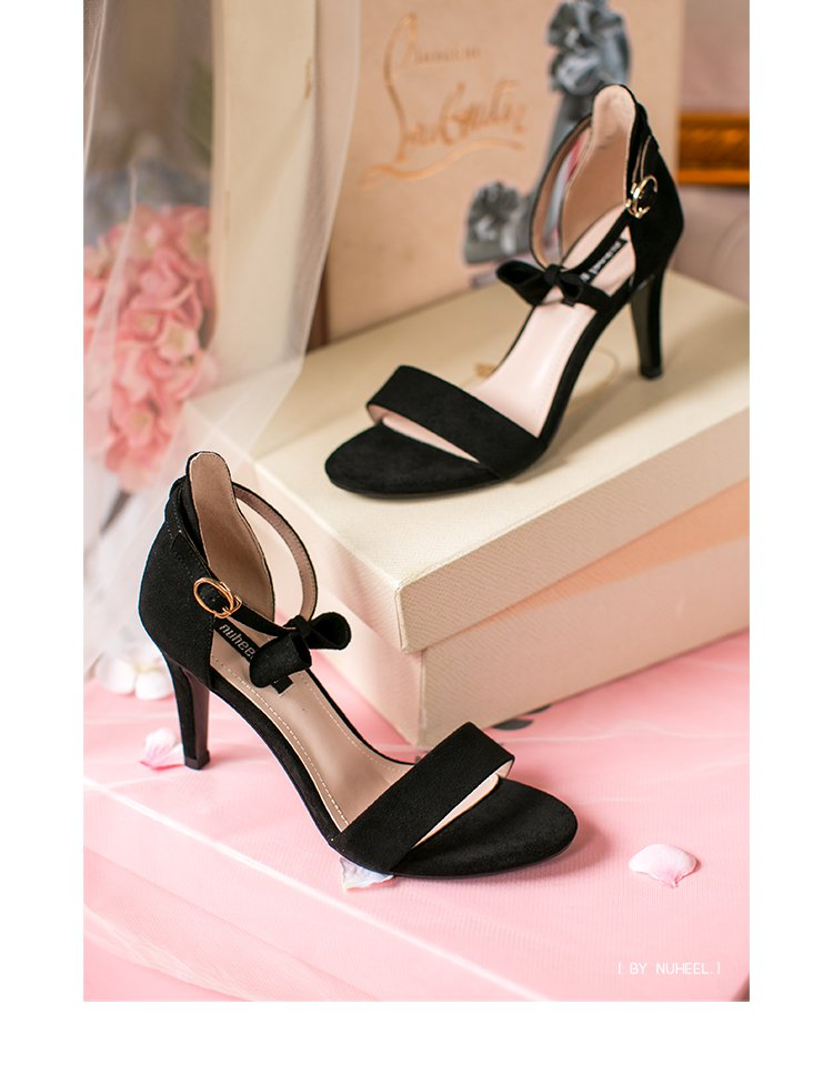 新品女鞋蝴蝶结高跟鞋一字带凉鞋粉色-镜面时尚蝴蝶结增高高跟鞋