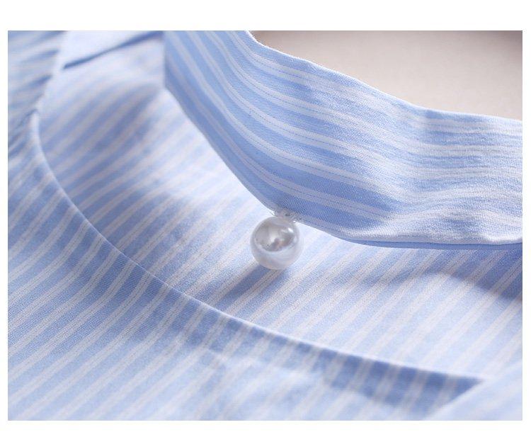 清新条纹飘带圆领短袖上衣蓝白条纹