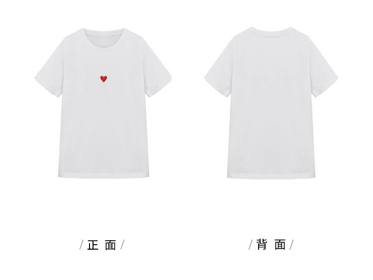 红心刺绣夏日无痕白t恤白色