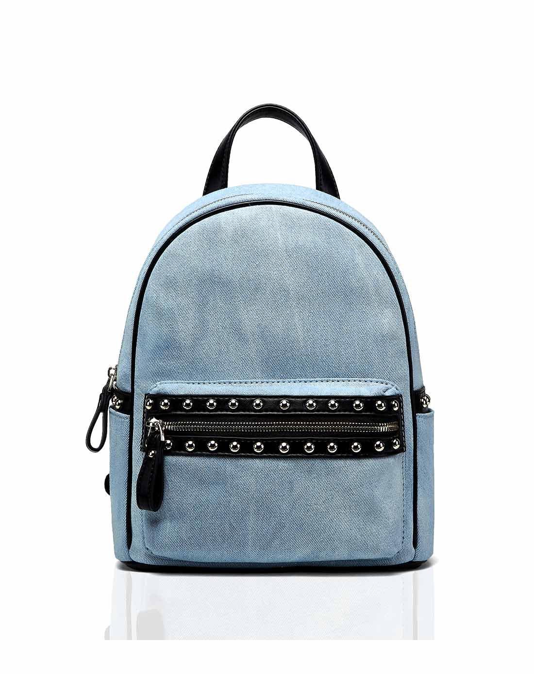 2017新款纯色牛仔休闲旅行背包书包双肩包