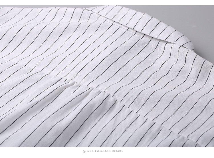 时尚干练经典条纹简约百搭女士长袖衬衫白底黑条