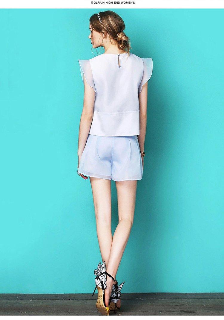甜美时尚短裤浅蓝色