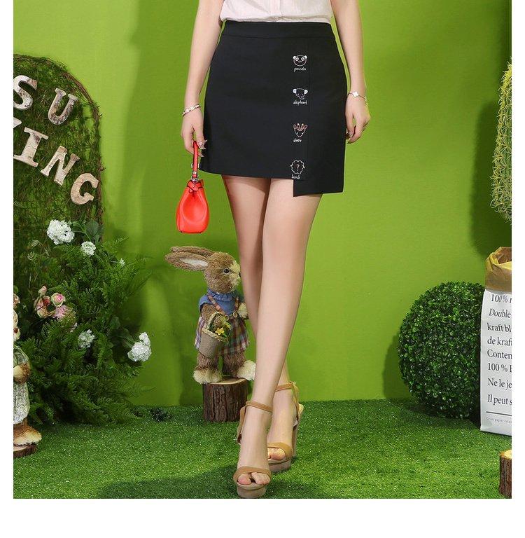 可爱动物刺绣半身裙黑色