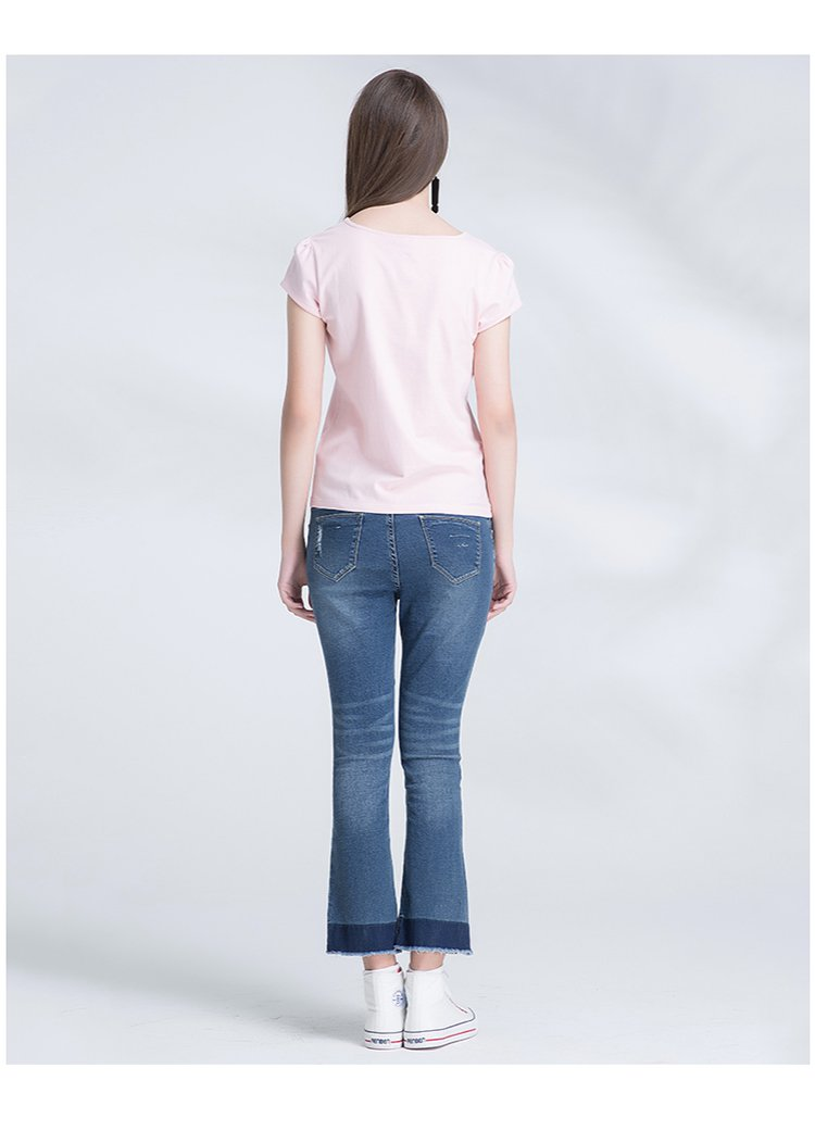 百搭拉链口袋牛仔裤靛蓝色