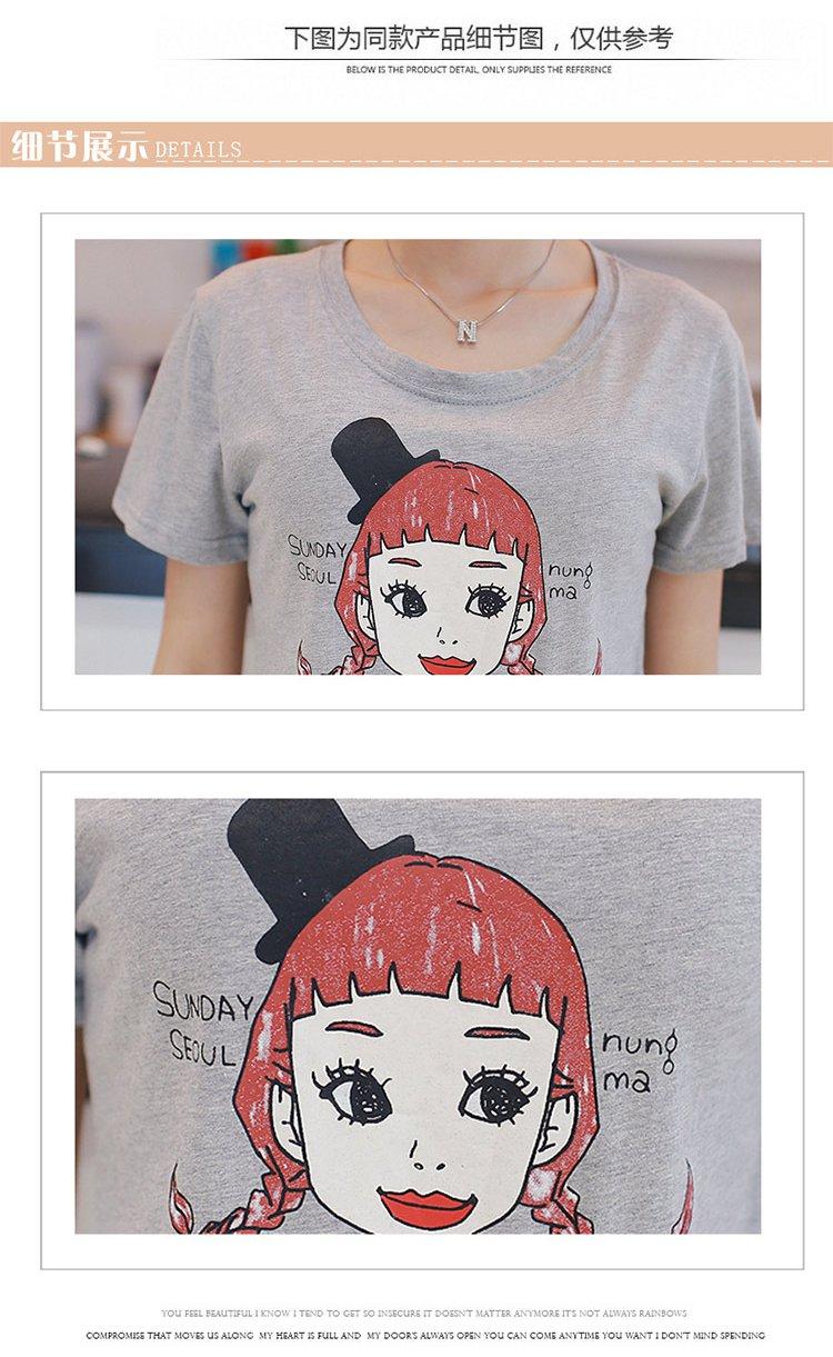 甜美可爱女孩人头印花t恤白色
