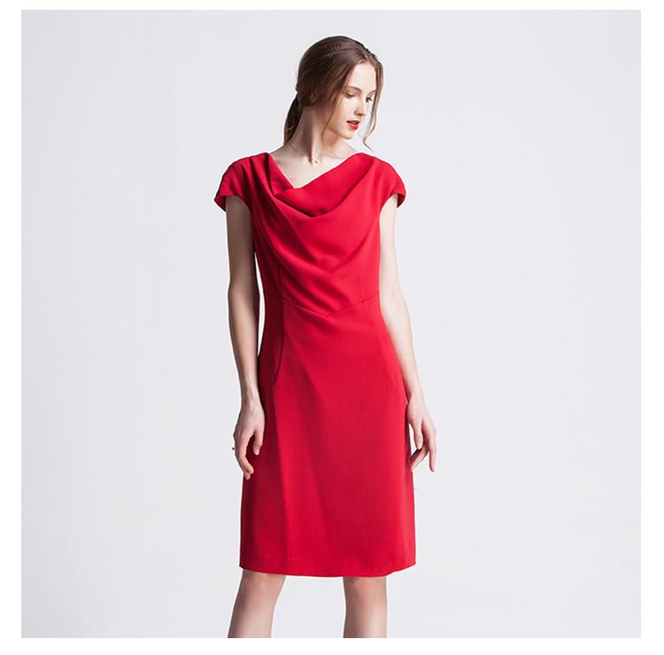 纯色收腰显瘦时尚商务连衣裙红色