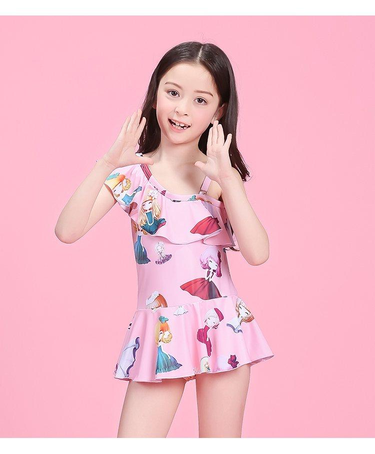 【2017新品】可爱公主 女童裙式连体温泉泳衣