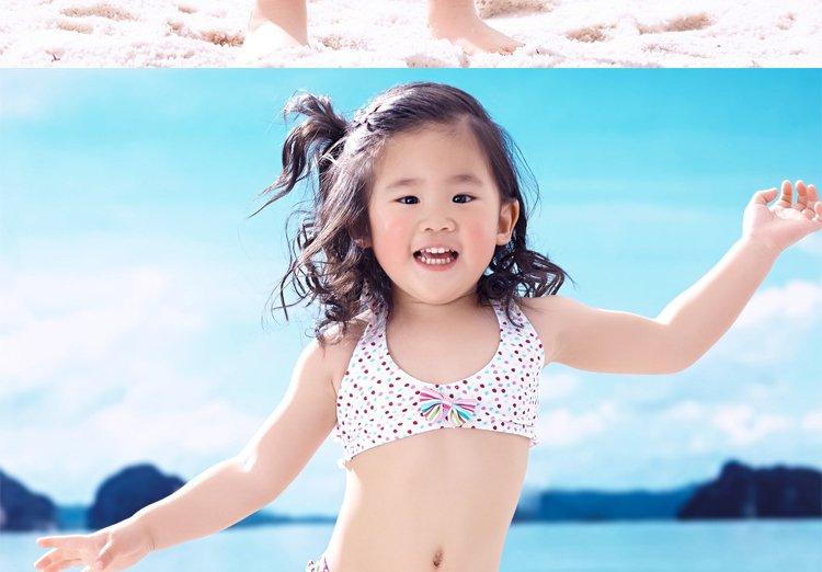 甜心小可爱圆点条纹印花挂脖小背心分体女童泳装白底圆点