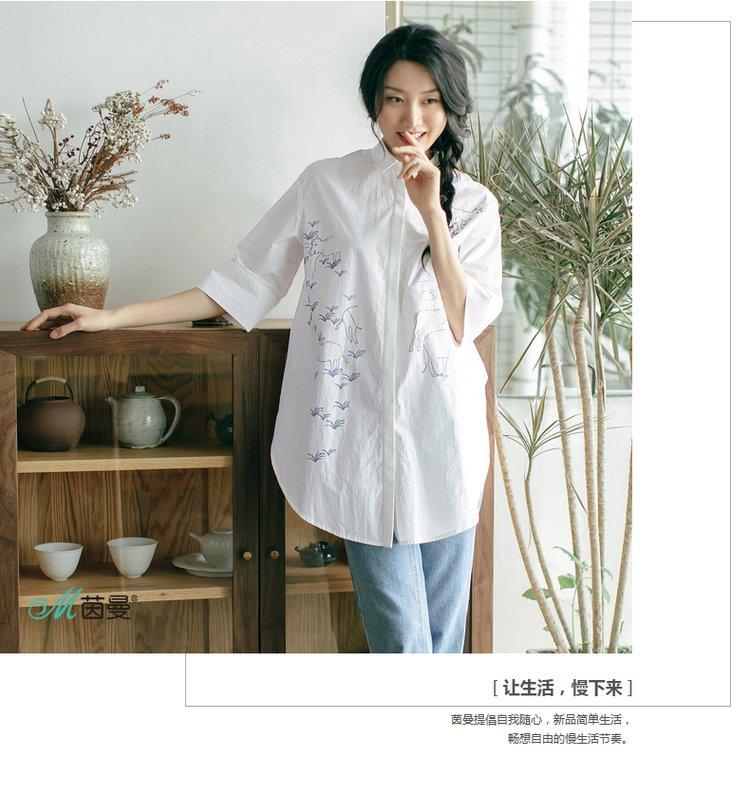 文艺风景印花宽松气质翻领纯棉长款衬衫