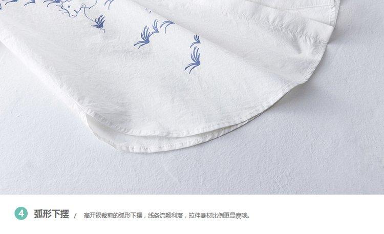 【2017夏新品】文艺风景印花宽松长款衬衫珍珠白