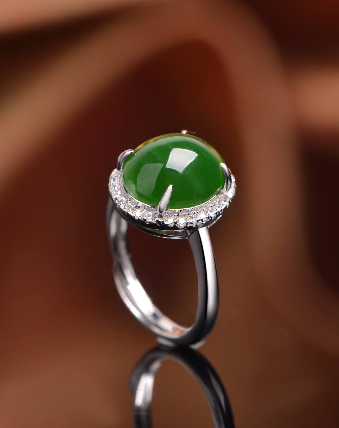 s925银镶和田碧玉椭圆形戒指