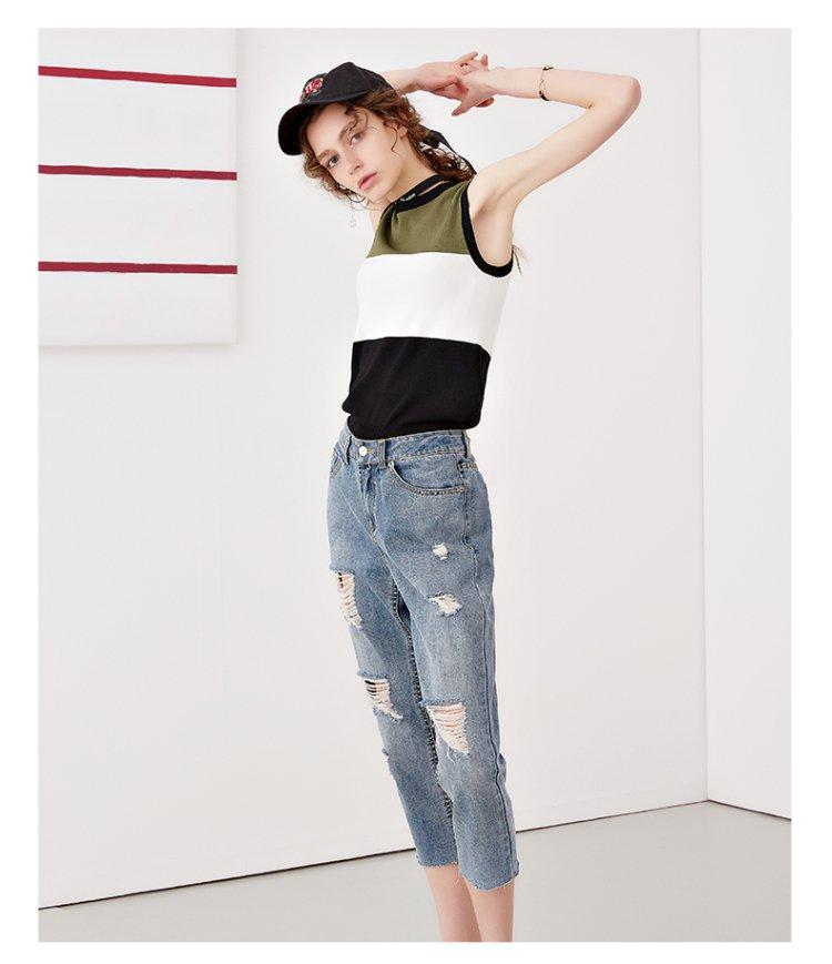 时尚破洞牛仔裤蓝色
