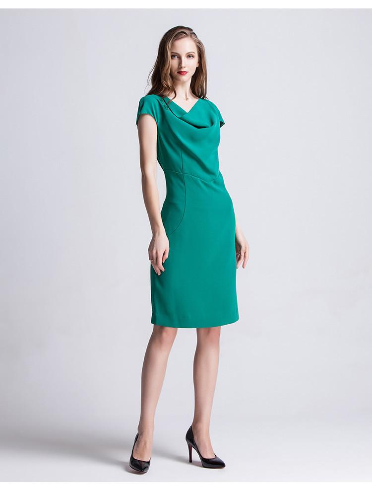 纯色收腰显瘦时尚商务连衣裙绿色