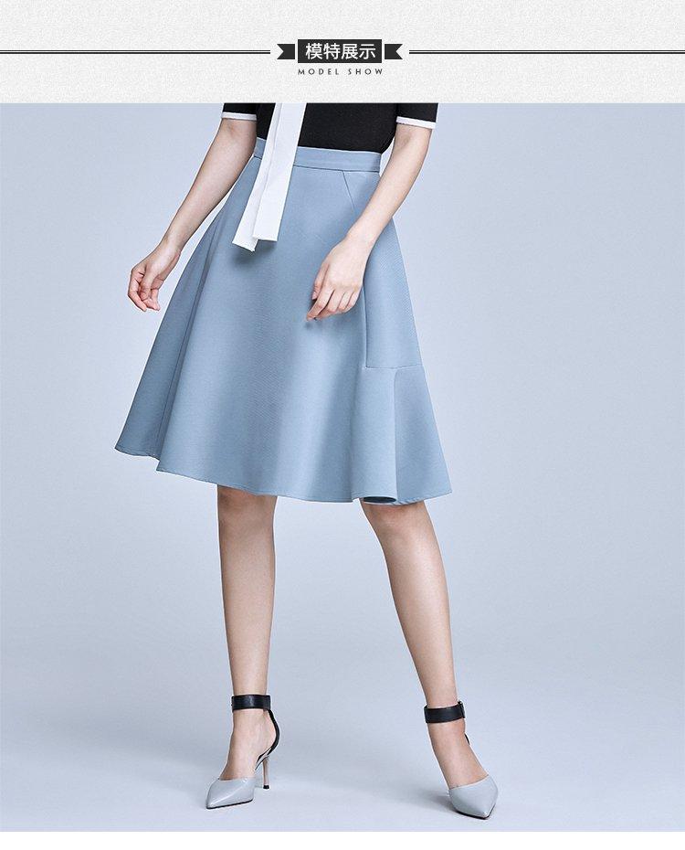 灰藍色中腰大擺a字中裙顯瘦荷葉邊半身裙圖片