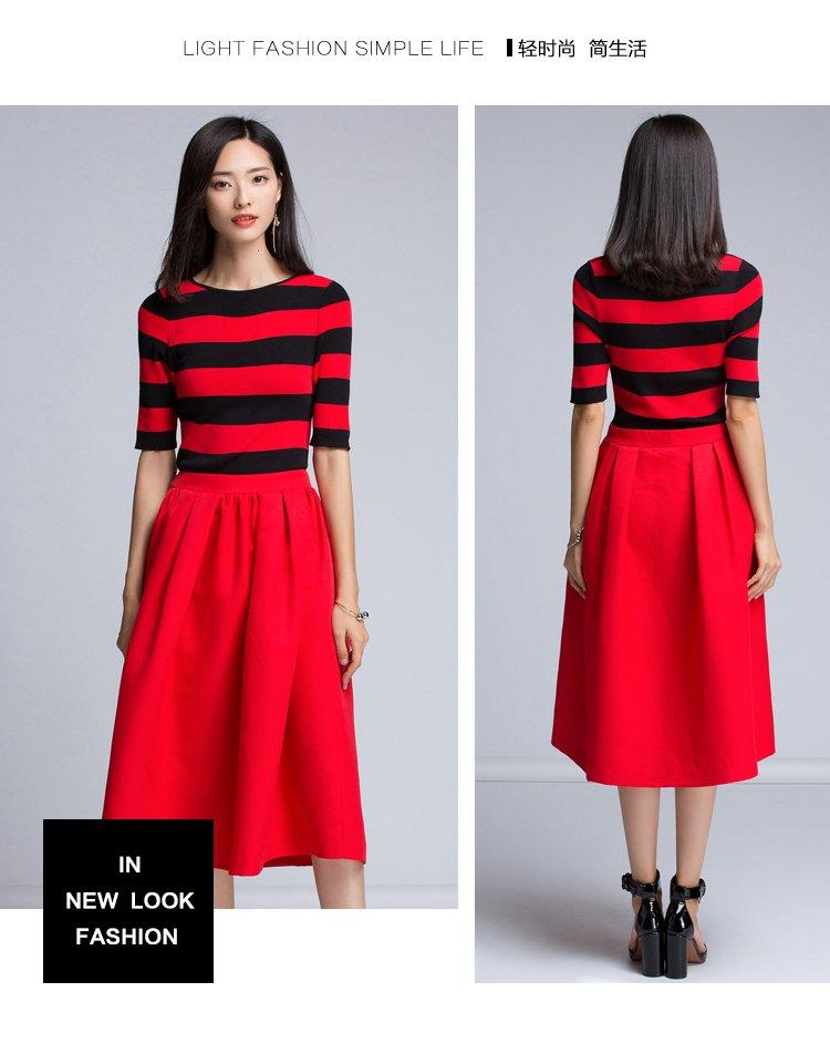 撞色条纹收腰显瘦舒适针织连衣裙