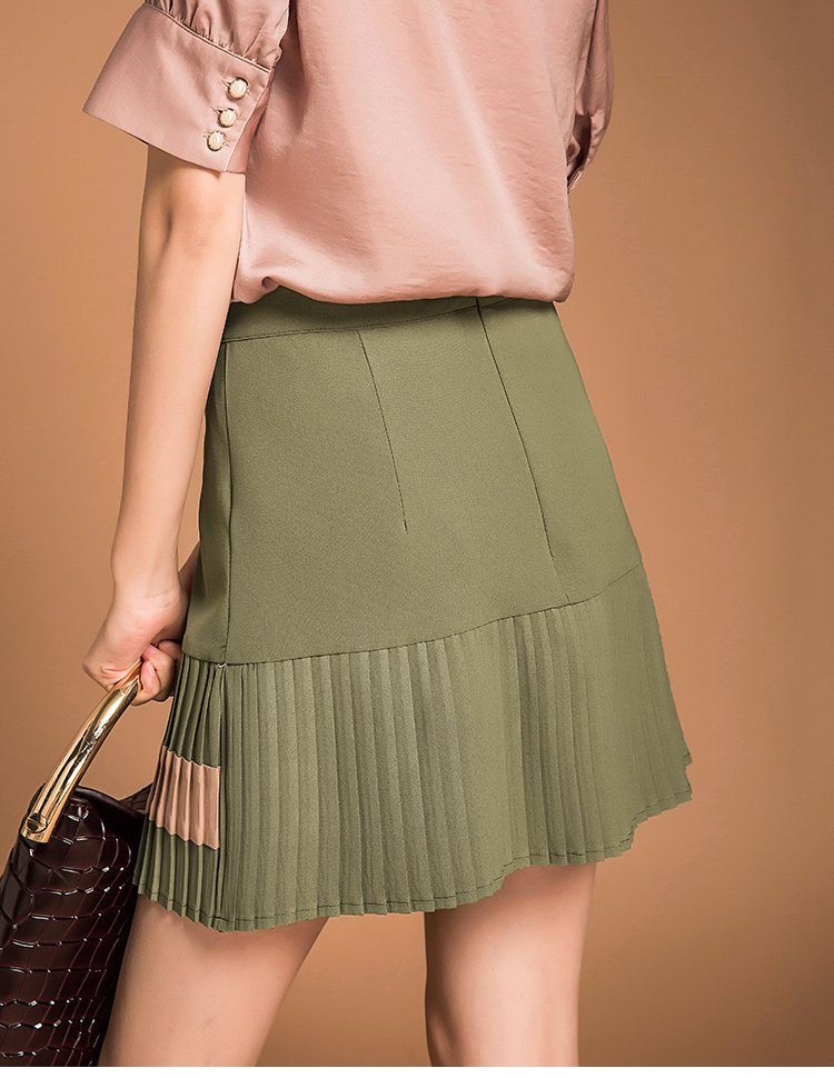 甜美拼接高腰半身裙