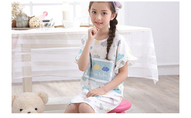手绘彩色女童款夏季睡衣套装