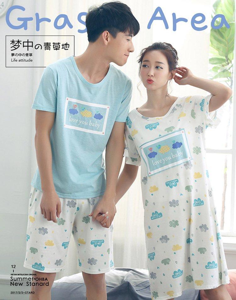 亲子装手绘彩色爸爸款夏季睡衣套装