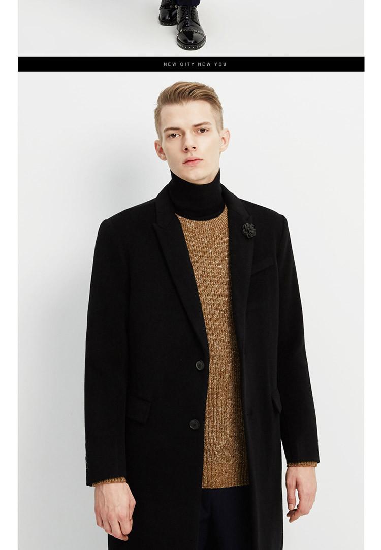 男双面羊绒商务大衣