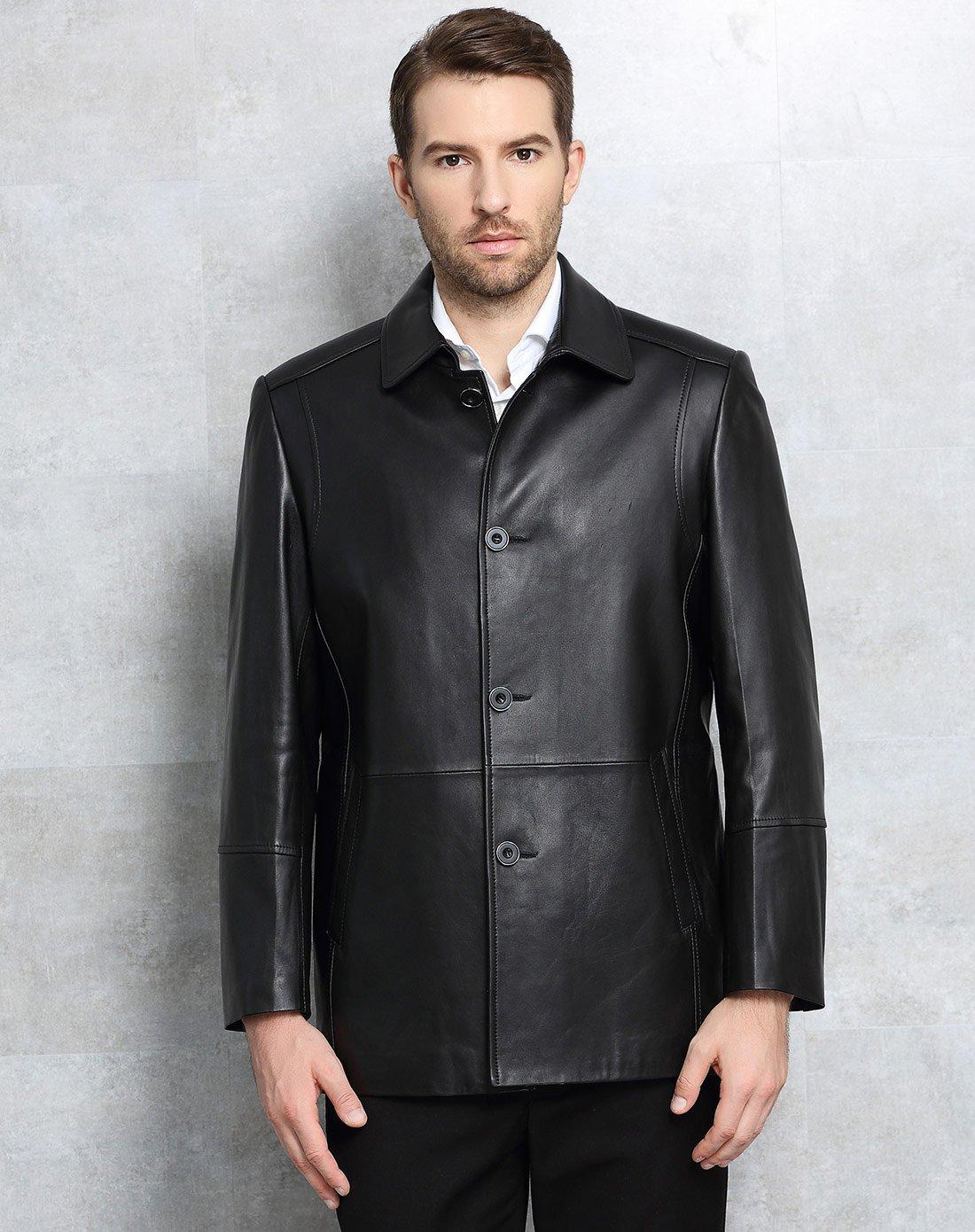 男装外套欹o#_男装绵羊皮翻领时尚休闲外套