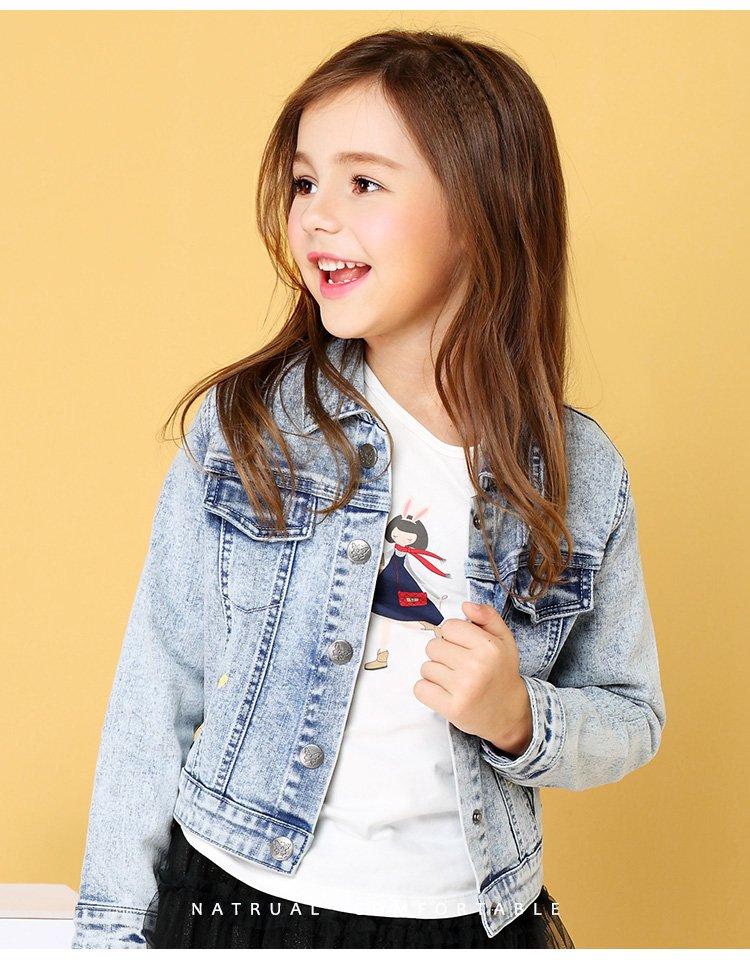 安奈儿童装女童牛仔外套秋季新款中大童单排扣休闲上衣