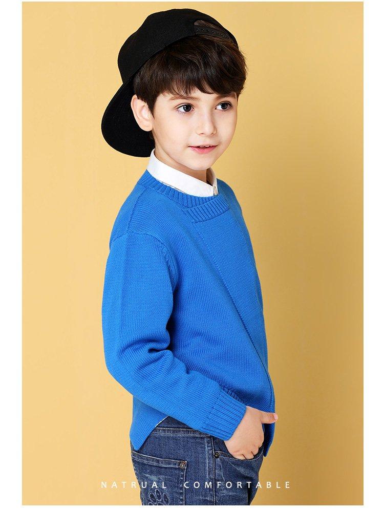 安奈儿童装男大童秋冬新款男童圆领长袖棉线衫